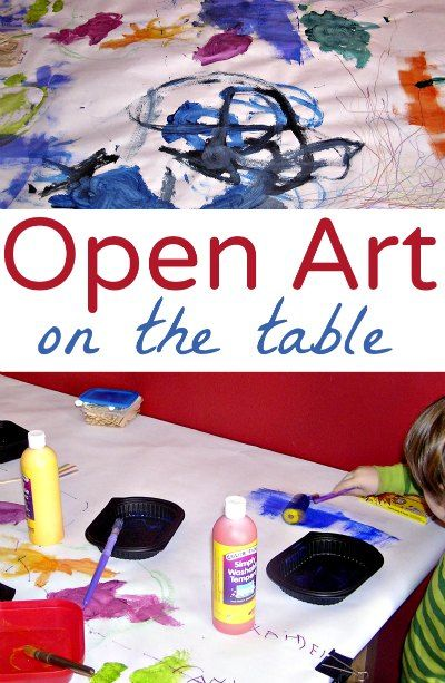 Great boredom buster for kids! Open ended art on a paper-covered table.