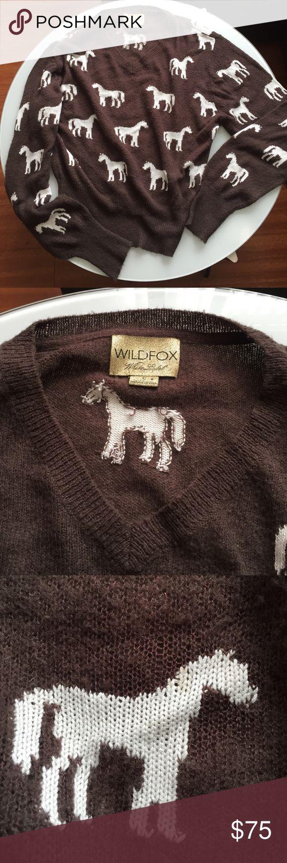 Wildfox white label horses sweater Size small like new Wildfox Sweaters V-Necks