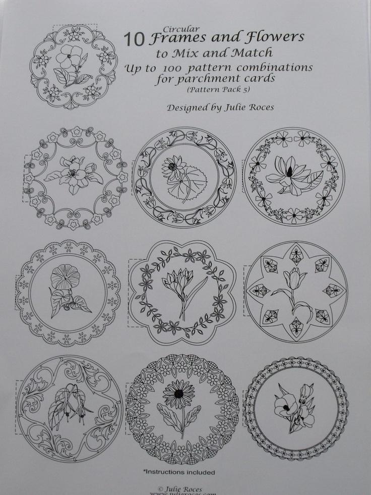 10 CIRCULAR FRAMES AND FLOWERS TO MIX AND MATCH    A collection of 10 Circular Frames and Flower motifs to mix and match to create your own unique designs. Instructions and possible combination sheets are included. 10sheets.