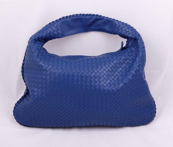 Кожаная сумка Bottega Veneta (боттега венета) Hobo синяя