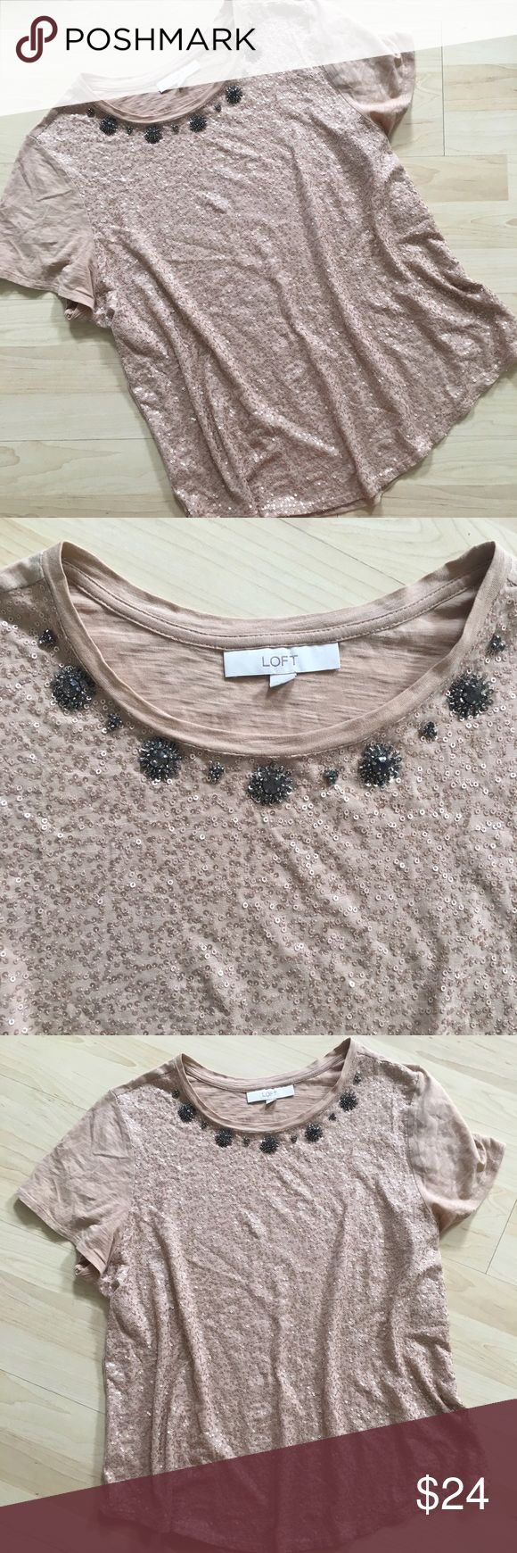Loft champagne gold sequin embellished tee shirt Gorgeous light gold tee shirt covered with sequins on the front and embellished around the neckline. In like new condition. Fun to dress up or down! LOFT Tops Blouses
