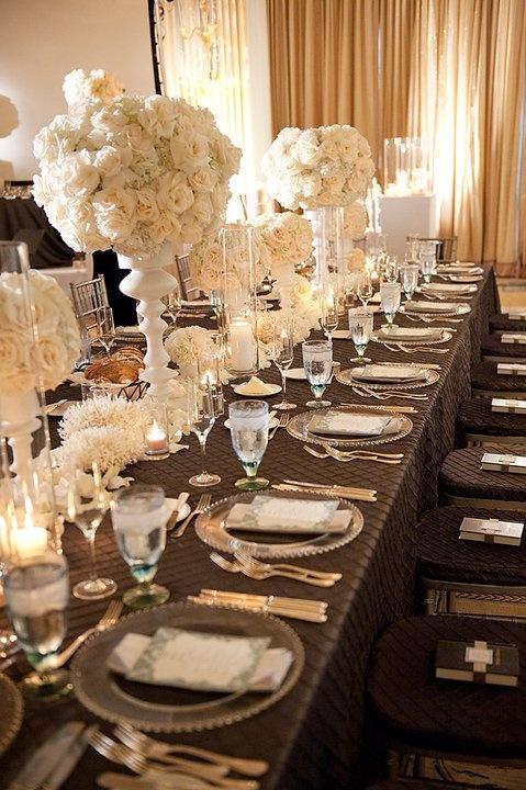 Chocolate And Cream Wedding Table Decor