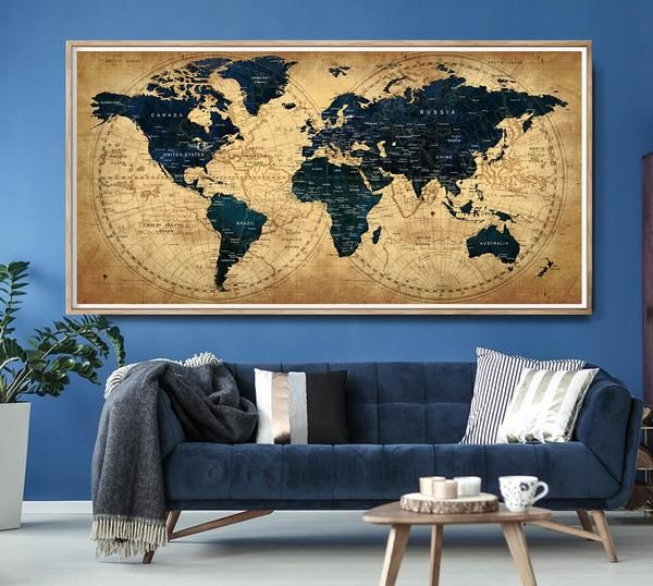 Vintage World Map Poster Print Large Rustic Wall Decor Wall Art Globe World Map Of The World Large Rustic Wall Decor Map Wall Decor Vintage Industrial Decor