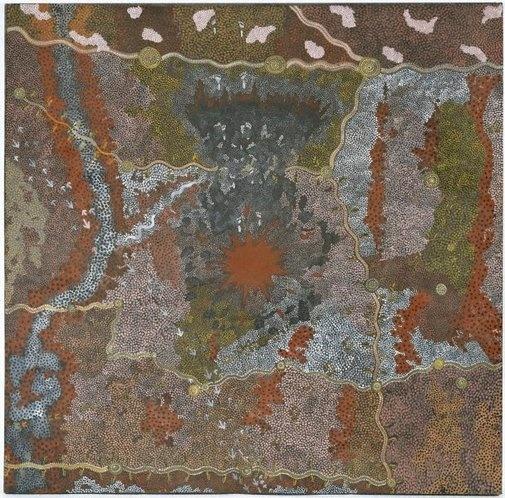 "Clifford Possum Tjapaltjarri (Australia c. 1932-2002), ""Bushfire Dreaming (1982), Anmatyerre, Central Dessert Australia. Acrylic on canvas."