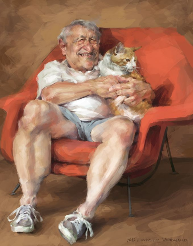 Here's a digital portrait/ caricature painting by Lindsey Lively.  He's painted sitting in his favorite red chair and holding his beloved cat.   See more of Lindsey's art at her Facebook page: www.facebook.com/lindseylivelyart