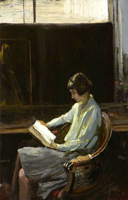 Alice (1919). John Lavery (Irish, 1856-1941). Oil on board. National Museums Northern Ireland. The sitter for this work is Alice, Lavery's daughter. In 1909, Lavery married Hazel Martyn (1886–1935), an Irish-American known for her beauty and poise; by her he had one daughter, Alice (Mrs. Jack McEnery).