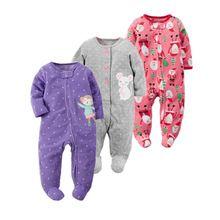 2017 nieuwe baby meisje kleding, zachte fleece kids een stukken Jumpsuits Pyjama 0-24 M zuigeling meisje jongens kleding baby kostuums bebes(China (Mainland))