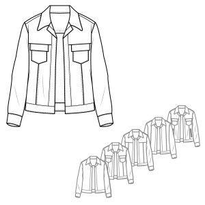 Men's Denim Style Jacket Technical Drawings   mappe 4 ...