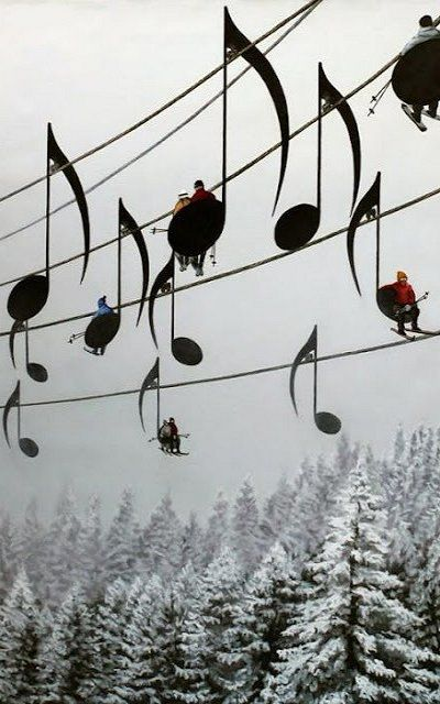 """Musical Ski Lift, France """"Ski lift designs like this would be awesome. This happens to be a realistic/surreal painting titled Concert no 4 by artist Mihai Criste on Deviant Art. How realistic you ask? Enough realistic to make several people believe that ski lifts in Jura Mountain, France do actually look this way."""""""