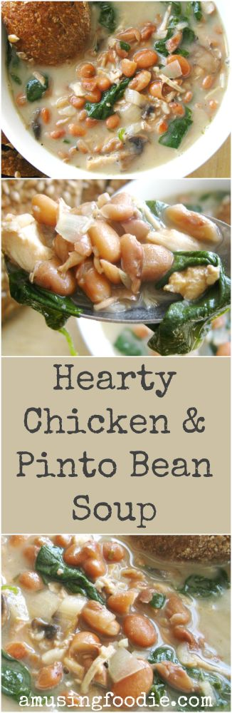 This hearty chicken and pinto bean soup will warm you to the bone — it's the perfect cold weather meal!