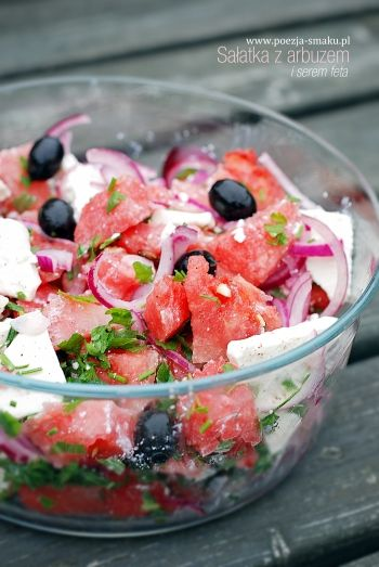 Sałatka z arbuzem i fetą (Watermelon and Feta cheese salad - recipe in Polish)