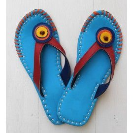 Blue barefoot boho rangoli footwear