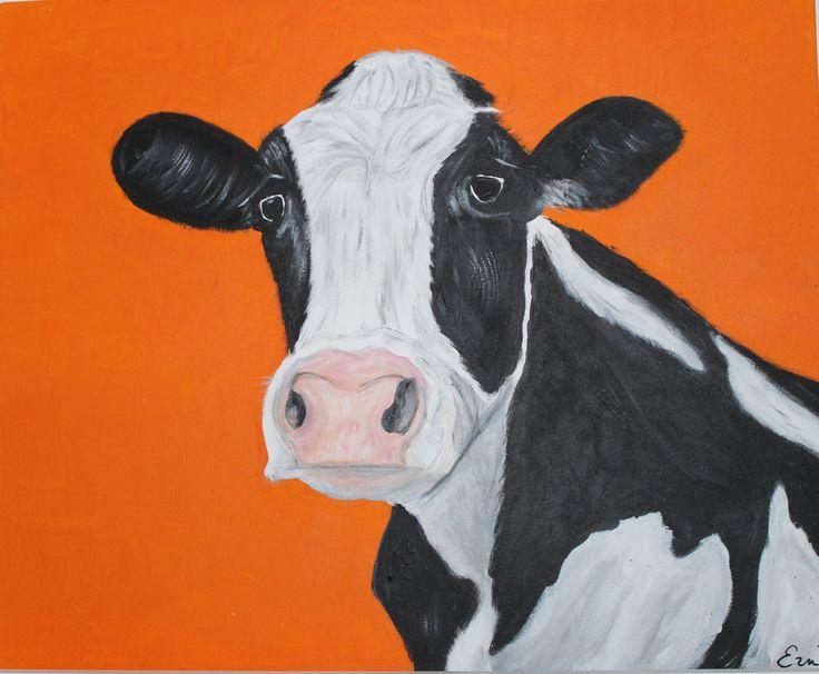 Koe in 't oranje -50x60 cm.- acryl op doek door Erna Feijge