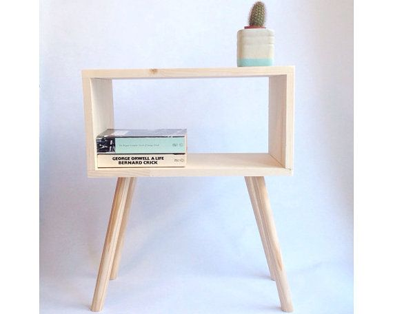 Mid Century Scandinavian Side Table, Retro Nightstand, Mid Century Modern Bedside Table, Solid Wood Table, Contemporary Furniture