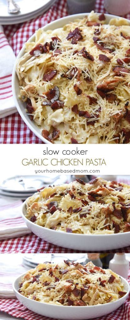 Slow Cooker Garlic Chicken Pasta Recipe | Your Homebased Mom - Slow Cooker Garlic Chicken Pasta is the perfect family meal with plenty to share with someone else. The slow cooker makes it easy to prepare and it's ready to eat when you are.