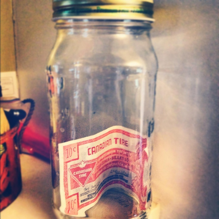 A lone ten-cent bill in a collection jar in Madison Lewis' house in Lacombe, Alberta on June 17th 2012. The jar was delivered, filled with bills, to Corin on August 24!