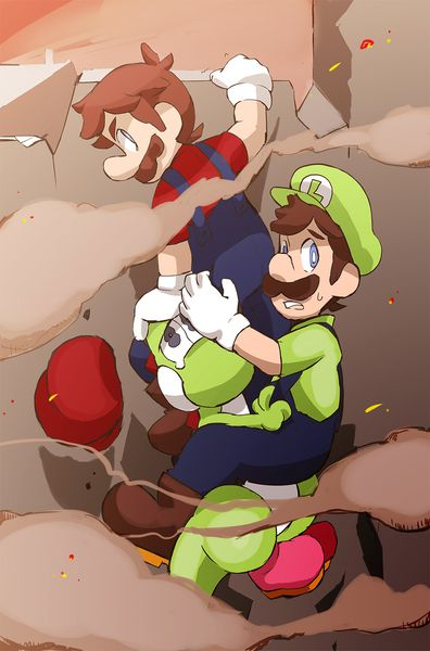 Mario and 2 green people by Uroad7