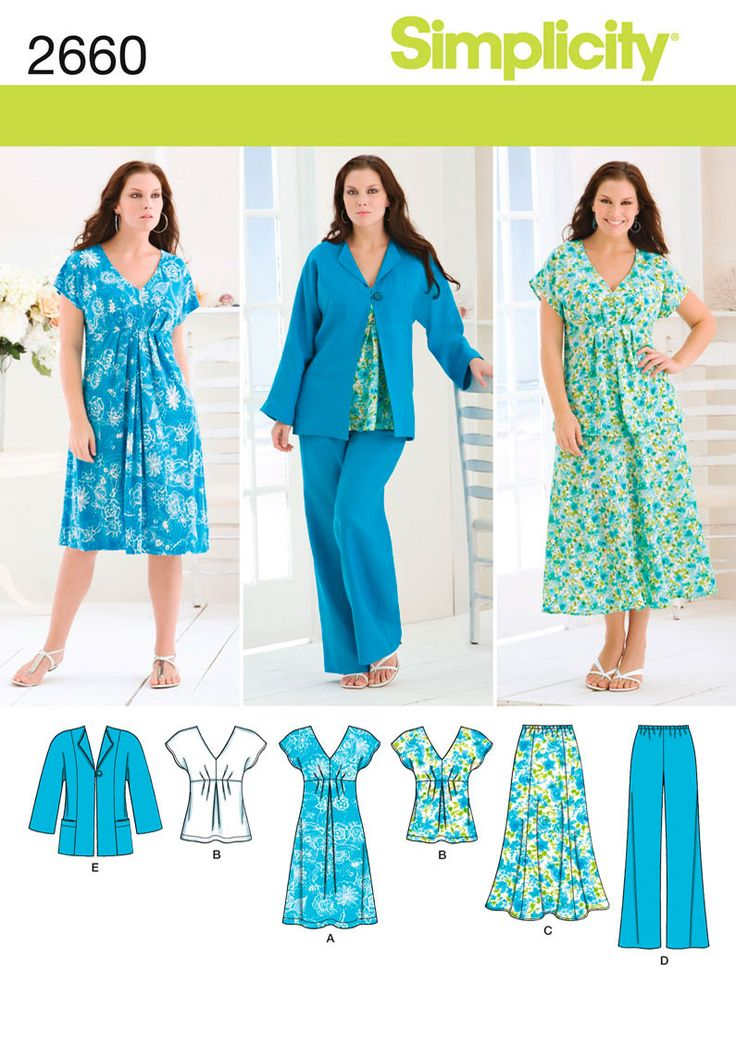 Misses or Plus Size Dress, Top sewing pattern 2660 Simplicity