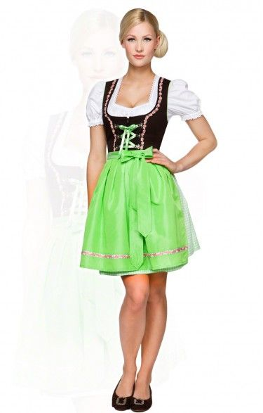 German mini dirndl 2pcs. Judy apple green 50 cm oktoberfest dirndl