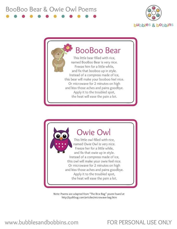 Owie Owl & Booboo Bear Tutorial | Diy heating pad, Rice