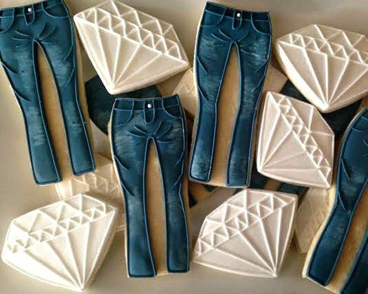 Denim and Diamond cookies one dozen by LuxeCookie on Etsy