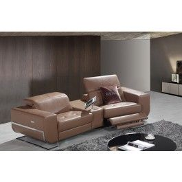 Divani Casa E9048 Modern Brown Leather Sectional Sofa w/Recliners -