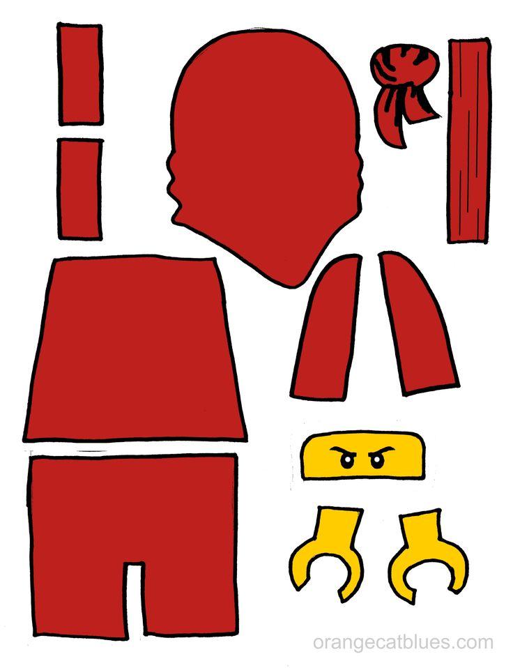 Lego Ninjago printable cutout for toddler gluestick art: The Red Ninja, Kai