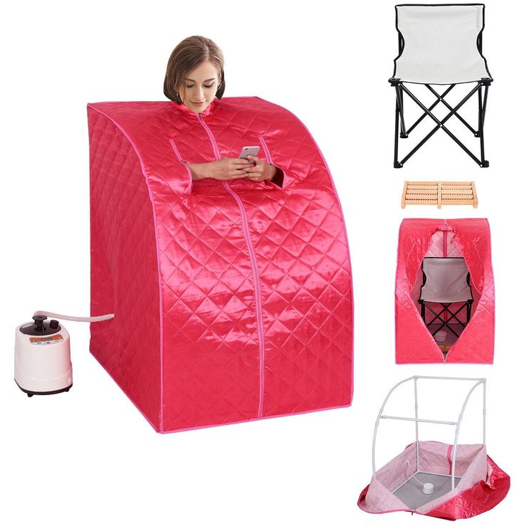 Costway Portable 2L Steam Sauna Spa Full Body Slimming Loss Weight Detox Therapy w/Chair, Pink (Cotton)