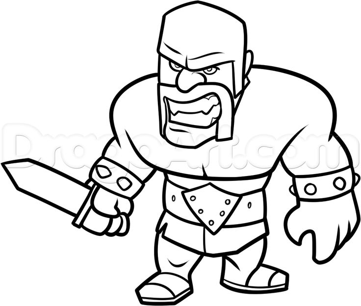 how to draw clash of clans barbarian step 14