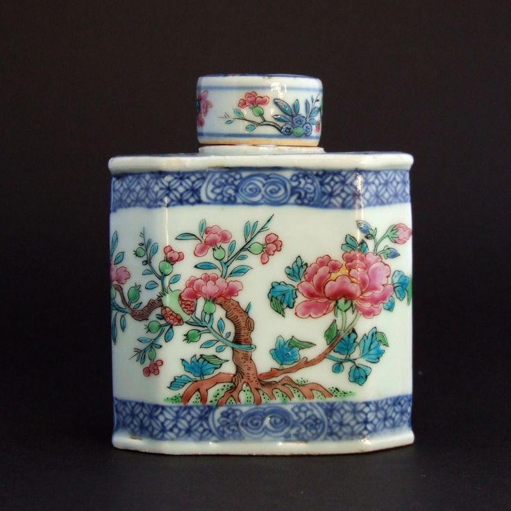 KANGXI or YONGZHENG c.1715 - 1730 Dutch Decorated Chinese Porcelain An Early 18th Century Chinese Blue and White and Incised Tea Canister and Cover, Late Kangxi or Yongzheng c.1715-1730. The Dutch Enamelling, in the Famille Rose Style was Added c.1720-1740. The Design is of an Old Tree Peony.