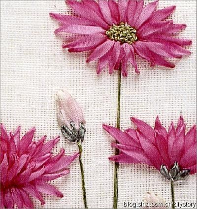ribbon-embroidered flowers