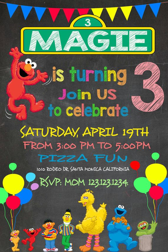 Fun Sesame Street Invitation Elmo Invitation by easyhappyparty