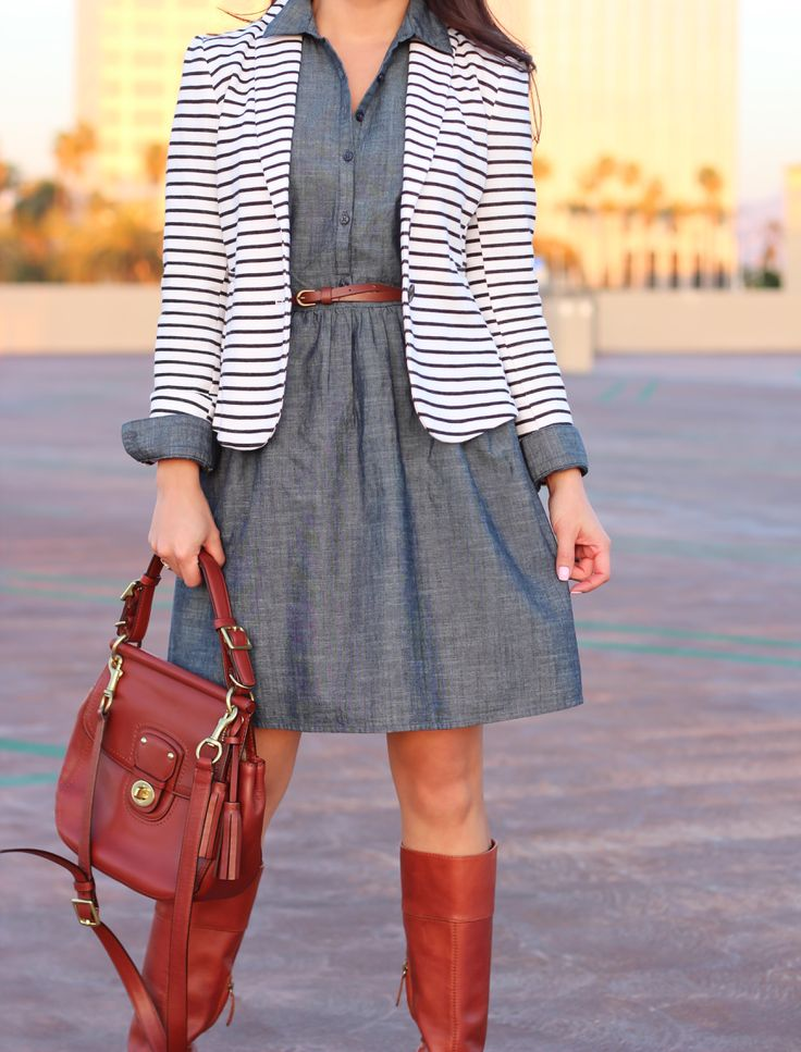 Chambray dress and fitted striped blazer // Click the following link to see outfit details and photos: http://www.stylishpetite.com/2015/01/old-navy-chambray-dress-and-striped.html