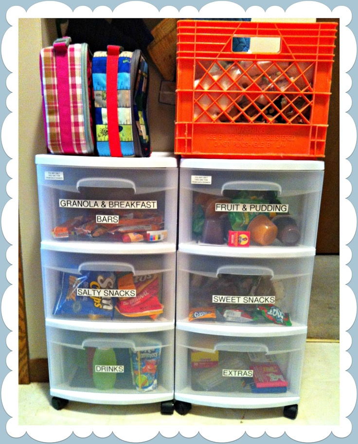 DalmanDelirium: School Lunch Organization this is great!! i have a nice snack shelf now but more bins and baskets would be nice for organizing!