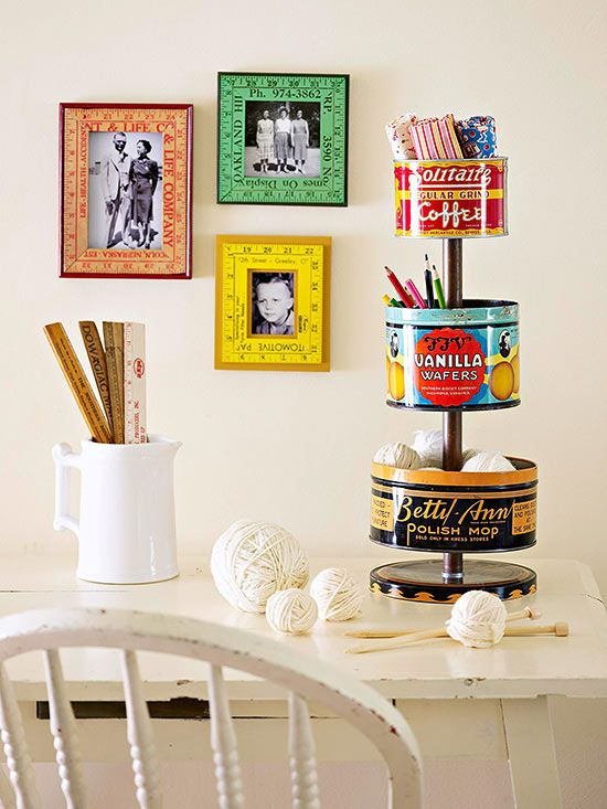 Colorful and thoroughly vintage, old tins are perfect for storing craft supplies and more in style. And this tiered storage unit maximizes space by taking storage vertical./