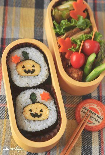 Halloween Jack-o'-Lantern's sushi roll with seaweed
