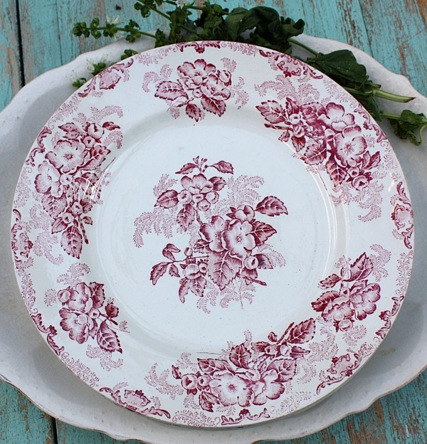 Antique French Red Transferware Floral Plates Set | Reds ...