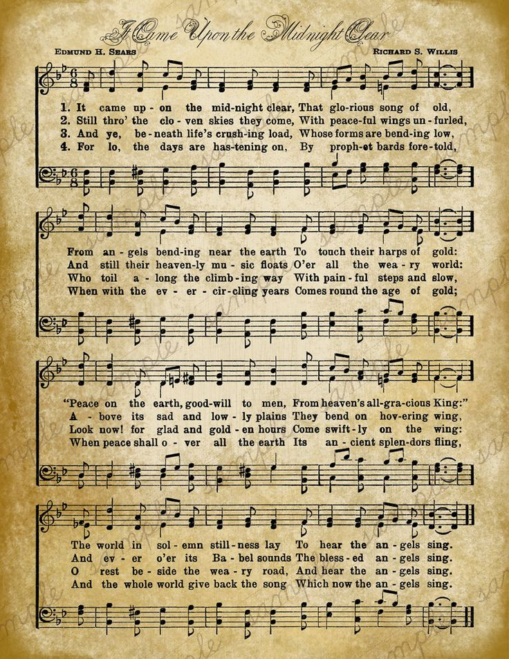 Printable Sheet Music On Vintage Christmas