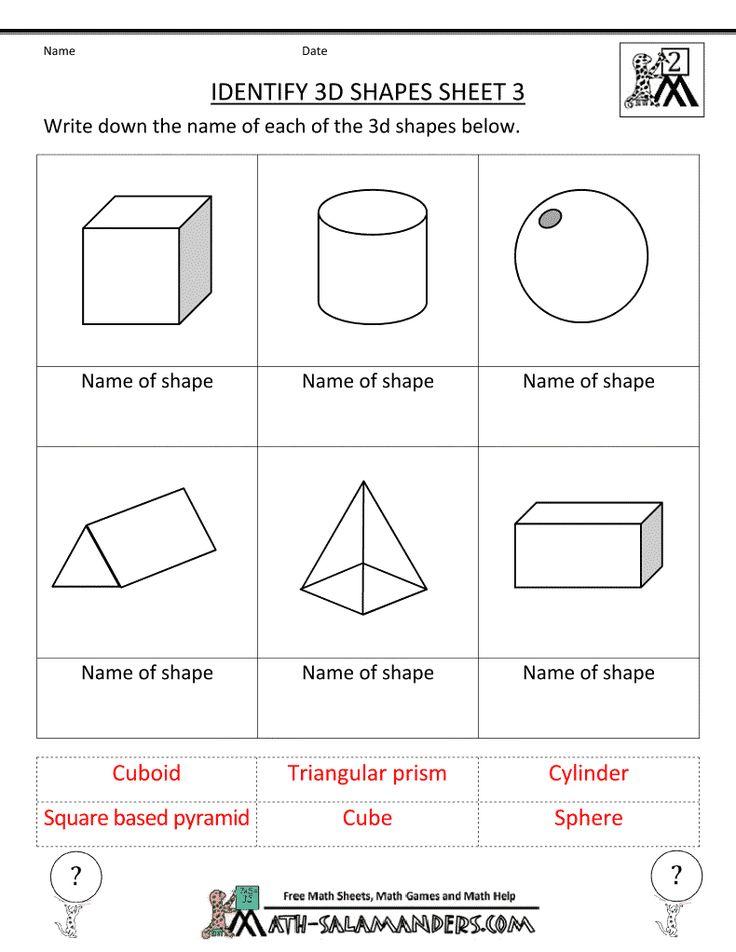 Printable Worksheets 2 d shapes worksheets : Fine Geometry Worksheets Kids Under 7 Geometric Shapes 1 Solid ...