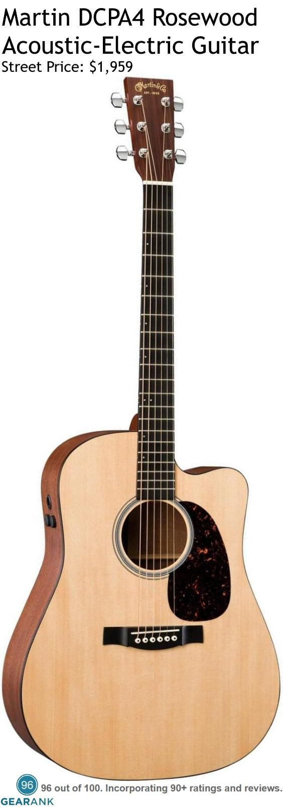 """Martin DCPA4 Rosewood Acoustic-Electric Guitar. Specifications: Top: Solid Sitka Spruce - Body: Solid East Indian Rosewood back & sides - Finish: Gloss - Natural - Bridge: Richlite - Neck: Select Hardwood - Fingerboard: Richlite Fingerboard Radius: 16"""" - Scale Length: 25.4"""" - Nut Width: 1.75"""" - Nut: White Corian - Saddle: Compensated White Tusq - Electronics: Fishman F1 Analog preamp & pickup."""