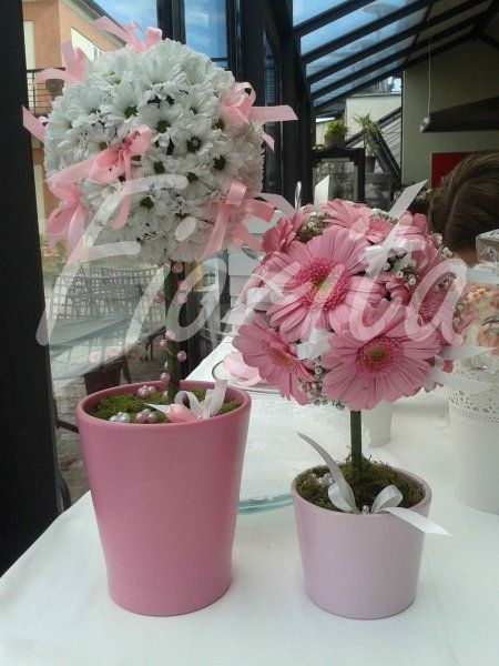 Výzdoba stolu - stromečky z chryzantém a gerber