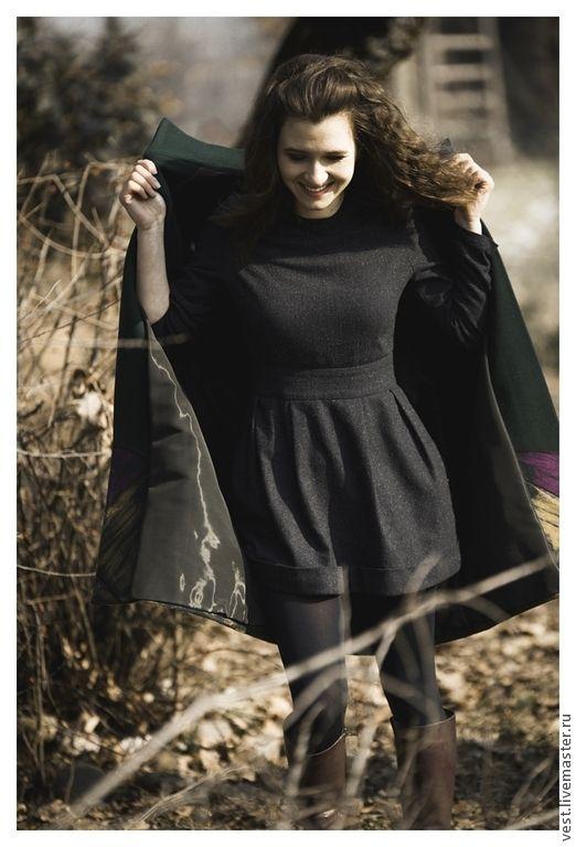 Маленькое твидовое платье. - темно-синий,однотонный,платье,тёплое платье