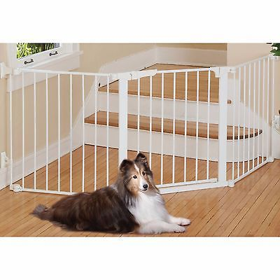 Pet Safety Custom Fit Gate Magnet Lock Free Standing In Door Dog Barrier White