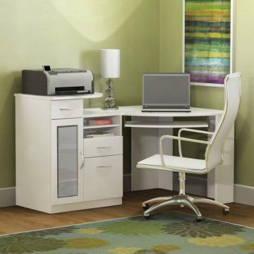 Something like this could work nicely if it fits. The hardrive can hide with the printer somewhere and there's space for a little bit of storage. :) Bush Vantage White Corner Computer Desk
