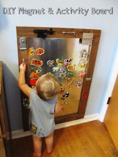 Great activity and magnet board. Also love the idea of putting magnets on wooden puzzle pieces.