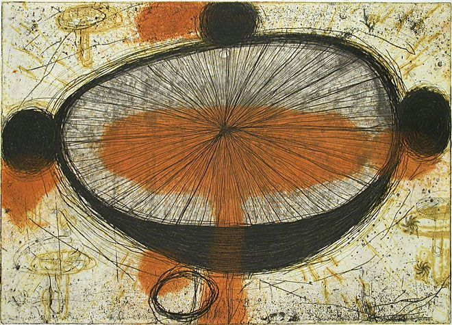 Akiko Taniguchi. Universe, 1997. Etching, collagraph. Edition of 20. 11-3/4 x 16-3/8 inches.