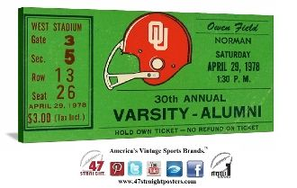 OU Sooners football tickets, ticket stub art, sports ticket stub art, best ticket stub collections, OU football ticket collection, college football art, historic ticket stubs, 47 straight