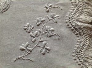 clover motifs on Mountmellick embroidery.