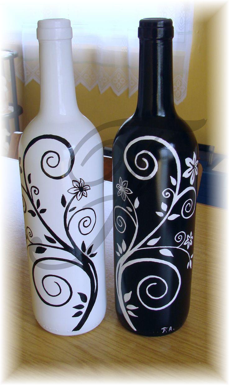 botella de cristal  pintada a mano