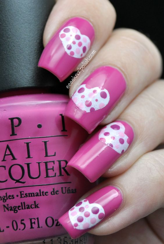 I Am Showcasing Heart Nail Designs U0026 Ideas Of 2014 For Valentineu0027s Day.  Make Lovely Hearts On Your Nails To Give A Romantic Touch To Them.